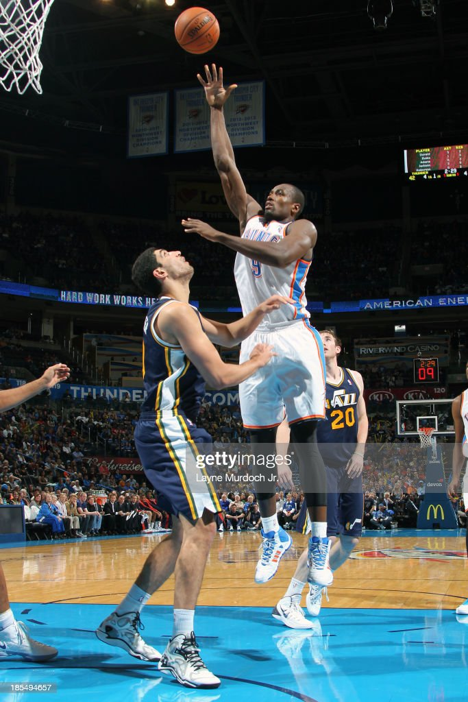 <a gi-track='captionPersonalityLinkClicked' href=/galleries/search?phrase=Serge+Ibaka&family=editorial&specificpeople=5133378 ng-click='$event.stopPropagation()'>Serge Ibaka</a> #9 of the Oklahoma City Thunder puts up the easy bucket against the Utah Jazz during an NBA preseason game on October 20, 2013 at the Chesapeake Energy Arena in Oklahoma City, Oklahoma.