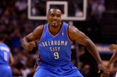 Serge Ibaka of the Oklahoma City Thunder reacts after a play in the first quarter against the San Antonio Spurs during Game Five of the Western...