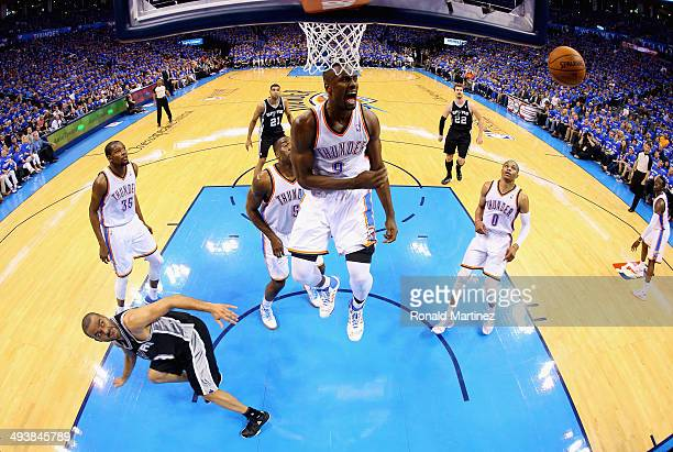 Serge Ibaka of the Oklahoma City Thunder reacts after blocking the shot of Tony Parker of the San Antonio Spurs in the second half during Game Three...