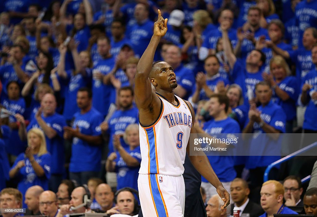 Serge Ibaka of the Oklahoma City Thunder reacts as he leaves the court in the second half against the San Antonio Spurs during Game Three of the...
