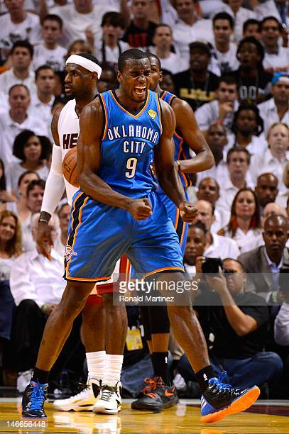 Serge Ibaka of the Oklahoma City Thunder reacts in the first half against the Miami Heat in Game Five of the 2012 NBA Finals on June 21 2012 at...