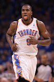 Serge Ibaka of the Oklahoma City Thunder reacts in the fourth quarter while taking on the San Antonio Spurs in Game Three of the Western Conference...