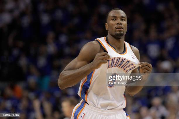 Serge Ibaka of the Oklahoma City Thunder reacts in the third quarter while taking on the San Antonio Spurs in Game Four of the Western Conference...