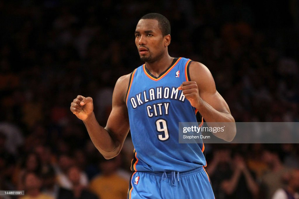 <a gi-track='captionPersonalityLinkClicked' href=/galleries/search?phrase=Serge+Ibaka&family=editorial&specificpeople=5133378 ng-click='$event.stopPropagation()'>Serge Ibaka</a> #9 of the Oklahoma City Thunder reacts late in the fourth quarter before the Thunder defeat the Los Angeles Lakers 103-100 in Game Four of the Western Conference Semifinals in the 2012 NBA Playoffs on May 19 at Staples Center in Los Angeles, California.