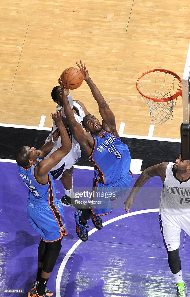 <a gi-track='captionPersonalityLinkClicked' href=/galleries/search?phrase=Serge+Ibaka&family=editorial&specificpeople=5133378 ng-click='$event.stopPropagation()'>Serge Ibaka</a> #9 of the Oklahoma City Thunder rebounds against the Sacramento Kings on April 8, 2014 at Sleep Train Arena in Sacramento, California.