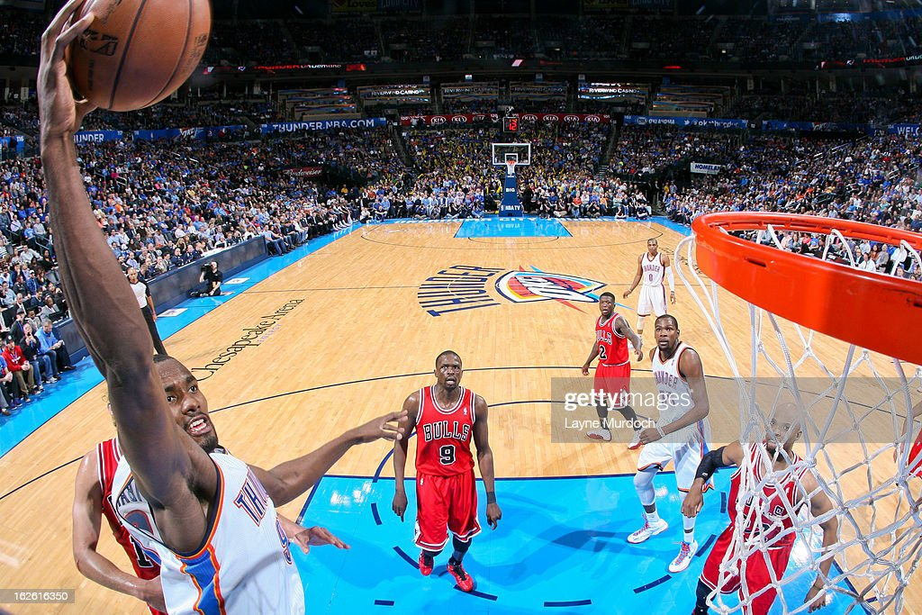 <a gi-track='captionPersonalityLinkClicked' href=/galleries/search?phrase=Serge+Ibaka&family=editorial&specificpeople=5133378 ng-click='$event.stopPropagation()'>Serge Ibaka</a> #9 of the Oklahoma City Thunder rises for a dunk against the Chicago Bulls on February 24, 2013 at the Chesapeake Energy Arena in Oklahoma City, Oklahoma.