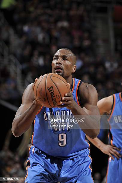 Serge Ibaka of the Oklahoma City Thunder shoots a free throw against the Cleveland Cavaliers on December 17 2015 at The Quicken Loans Arena in...