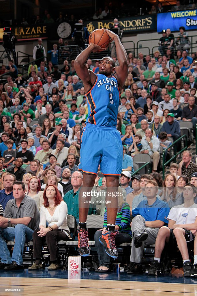 Serge Ibaka #9 of the Oklahoma City Thunder shoots a three-pointer against the Dallas Mavericks on March 17, 2013 at the American Airlines Center in Dallas, Texas.