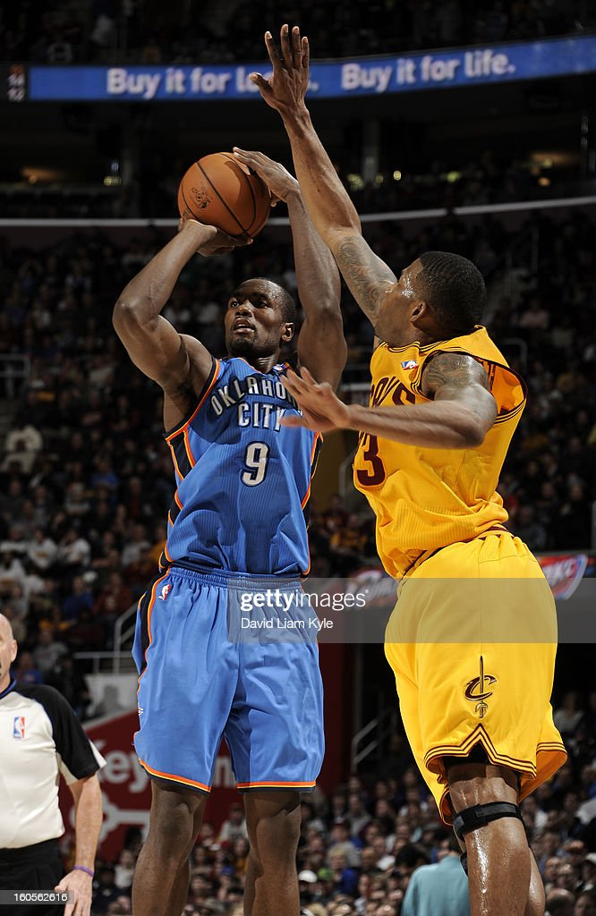 Serge Ibaka #9 of the Oklahoma City Thunder shoots against Alonzo Gee #33 of the Cleveland Cavaliers at The Quicken Loans Arena on February 2, 2013 in Cleveland, Ohio.