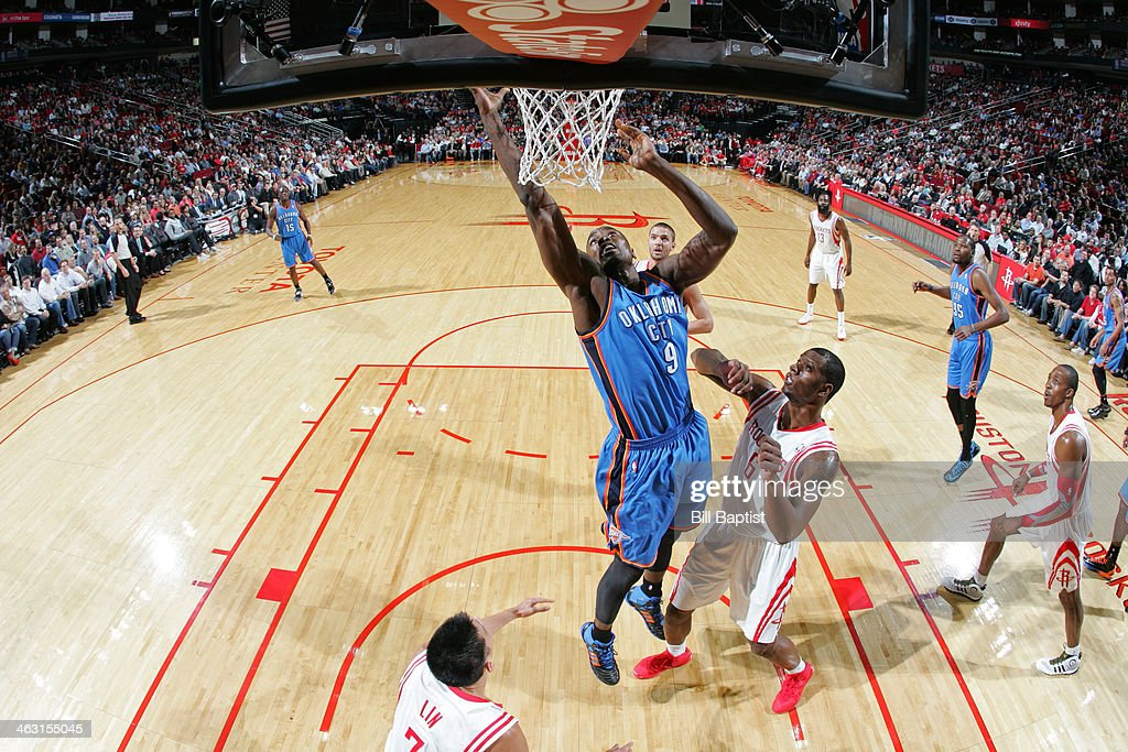 Serge Ibaka #9 of the Oklahoma City Thunder shoots against the Houston Rockets on January 16, 2014 at the Toyota Center in Houston, Texas.