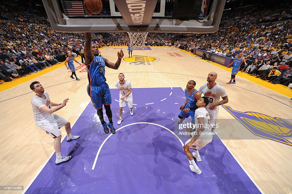 <a gi-track='captionPersonalityLinkClicked' href=/galleries/search?phrase=Serge+Ibaka&family=editorial&specificpeople=5133378 ng-click='$event.stopPropagation()'>Serge Ibaka</a> #9 of the Oklahoma City Thunder shoots against the Los Angeles Lakers at STAPLES Center on March 9, 2014 in Los Angeles, California.