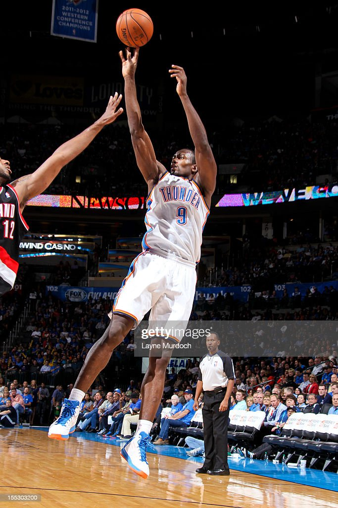 <a gi-track='captionPersonalityLinkClicked' href=/galleries/search?phrase=Serge+Ibaka&family=editorial&specificpeople=5133378 ng-click='$event.stopPropagation()'>Serge Ibaka</a> #9 of the Oklahoma City Thunder shoots against the Portland Trail Blazers on November 2, 2012 at the Chesapeake Energy Arena in Oklahoma City, Oklahoma.