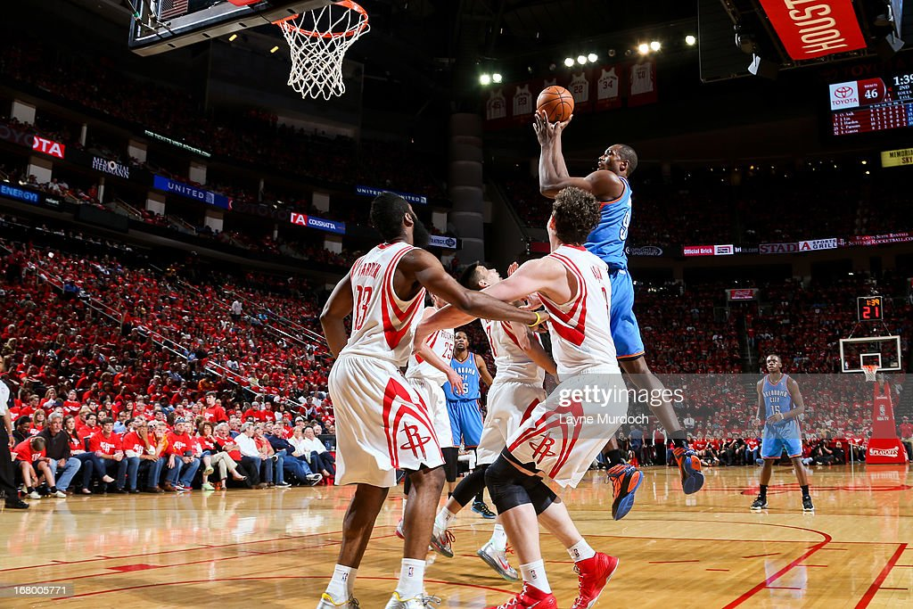 Serge Ibaka #9 of the Oklahoma City Thunder shoots in the lane against the Houston Rockets in Game Six of the Western Conference Quarterfinals during the 2013 NBA Playoffs on May 3, 2013 at the Toyota Center in Houston, Texas.
