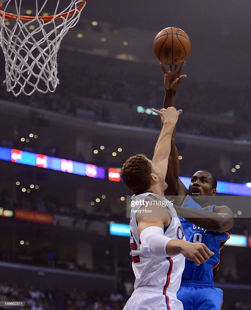Serge Ibaka #9 of the Oklahoma City Thunder shoots over Blake Griffin #32 of the Los Angeles Clippers during a 109-97 Thunder win at Staples Center on January 22, 2013 in Los Angeles, California.