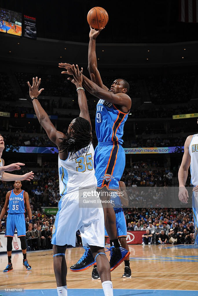 <a gi-track='captionPersonalityLinkClicked' href=/galleries/search?phrase=Serge+Ibaka&family=editorial&specificpeople=5133378 ng-click='$event.stopPropagation()'>Serge Ibaka</a> #9 of the Oklahoma City Thunder shoots over Kenneth Faried #35 of the Denver Nuggets on March 15, 2012 at the Pepsi Center in Denver, Colorado.