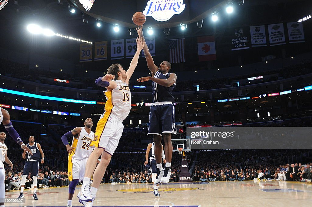 Serge Ibaka #9 of the Oklahoma City Thunder shoots over Pau Gasol #16 of the Los Angeles Lakers at Staples Center on January 27, 2013 in Los Angeles, California.