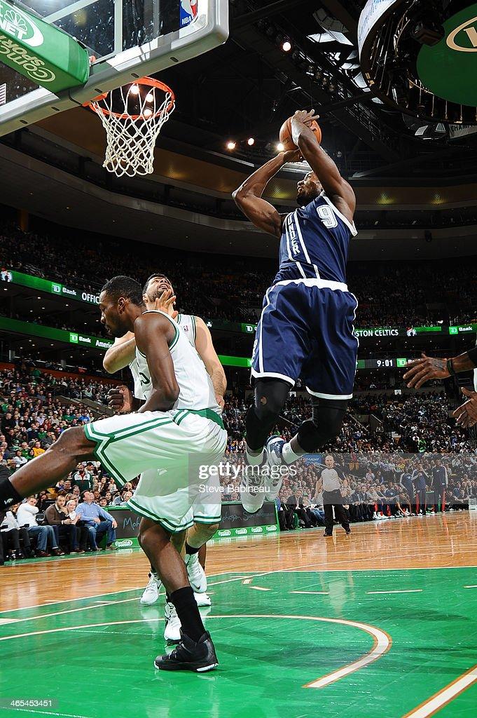 Serge Ibaka #9 of the Oklahoma City Thunder shoots the ball against the Boston Celtics on January 24, 2014 at the TD Garden in Boston, Massachusetts.