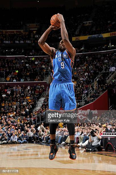 Serge Ibaka of the Oklahoma City Thunder shoots the ball against the Cleveland Cavaliers on December 17 2015 at The Quicken Loans Arena in Cleveland...