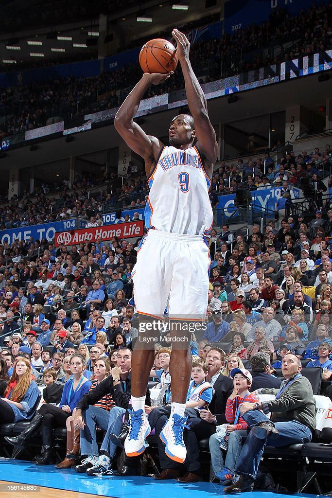 <a gi-track='captionPersonalityLinkClicked' href=/galleries/search?phrase=Serge+Ibaka&family=editorial&specificpeople=5133378 ng-click='$event.stopPropagation()'>Serge Ibaka</a> #9 of the Oklahoma City Thunder shoots the ball vs the Cleveland Cavaliers during an NBA game on November 11, 2012 at the Chesapeake Energy Arena in Oklahoma City, Oklahoma.