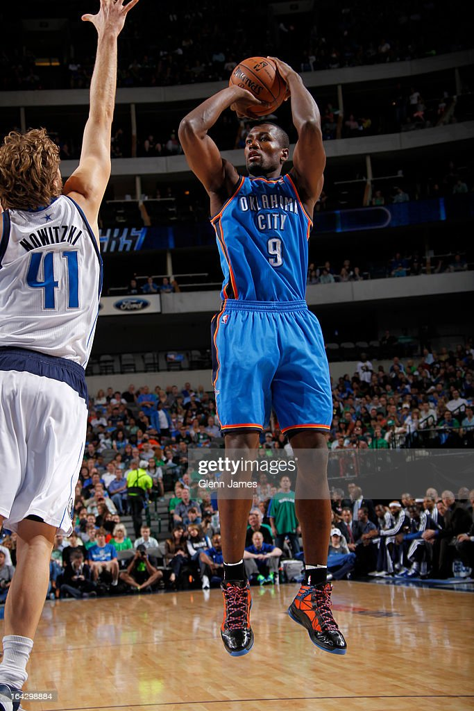 Serge Ibaka #9 of the Oklahoma City Thunder takes a shot against the Dallas Mavericks on March 17, 2013 at the American Airlines Center in Dallas, Texas.