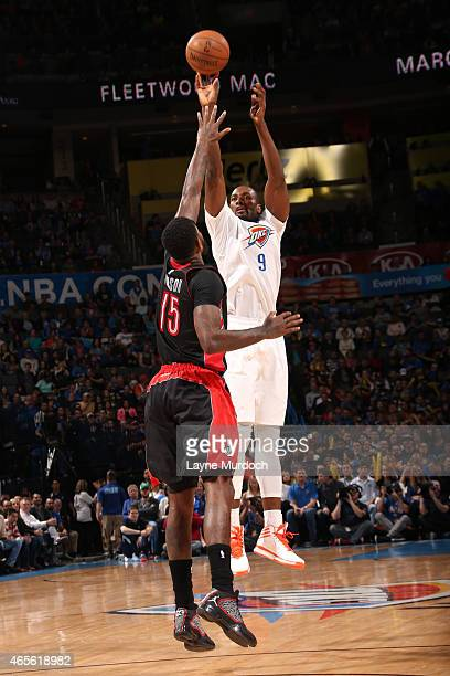 Serge Ibaka of the Oklahoma City Thunder takes a shot against the Toronto Raptors on March 8 2015 at the Chesapeake Energy Arena in Oklahoma City...