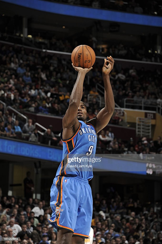 <a gi-track='captionPersonalityLinkClicked' href=/galleries/search?phrase=Serge+Ibaka&family=editorial&specificpeople=5133378 ng-click='$event.stopPropagation()'>Serge Ibaka</a> #9 of the Oklahoma City Thunder takes a wideopen shot against the Cleveland Cavaliers at The Quicken Loans Arena on February 2, 2013in Cleveland, Ohio.