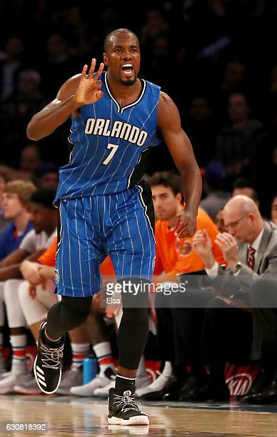 Serge Ibaka of the Orlando Magic celebrates his three point basket in the second half against the New York Knicks at Madison Square Garden on January...
