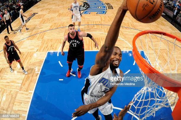 Serge Ibaka of the Orlando Magic dunks the ball during the game against the Toronto Raptors on February 3 2017 at Amway Center in Orlando Florida...