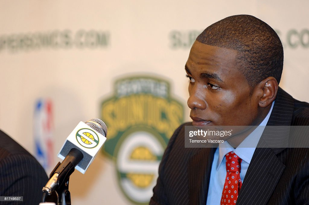 Serge Ibaka of the Seattle SuperSonics during a post draft press conference on June 27, 2008 at the Furtado Center in Seattle, Washington.