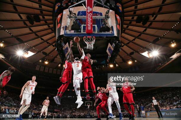 Serge Ibaka of the Toronto Raptors blocks the shot during the game against the New York Knicks on November 22 2017 at Madison Square Garden in New...