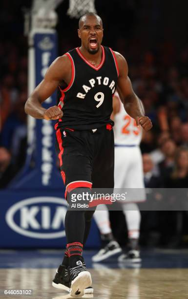 Serge Ibaka of the Toronto Raptors celebrates making a basket against the New York Knicks during their game at Madison Square Garden on February 27...