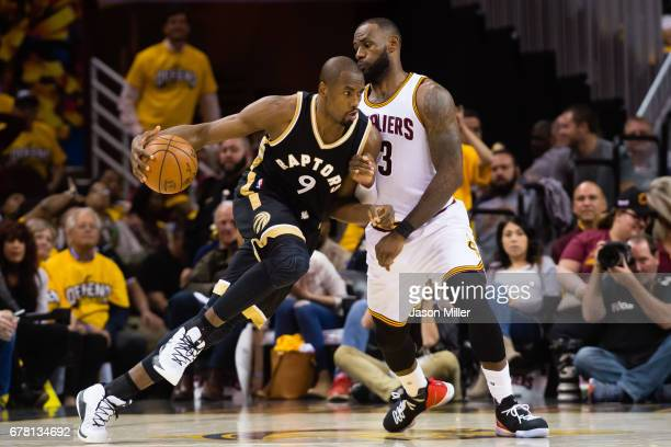 Serge Ibaka of the Toronto Raptors drives around LeBron James of the Cleveland Cavaliers during the second half of Game Two of the NBA Eastern...