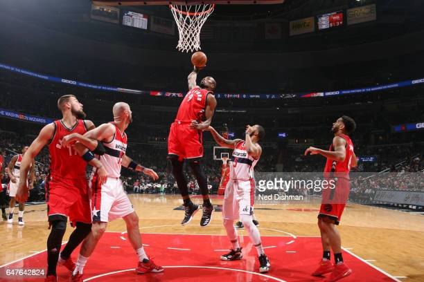 Serge Ibaka of the Toronto Raptors goes for a lay up against the Washington Wizards during the game on March 3 2017 at Verizon Center in Washington...