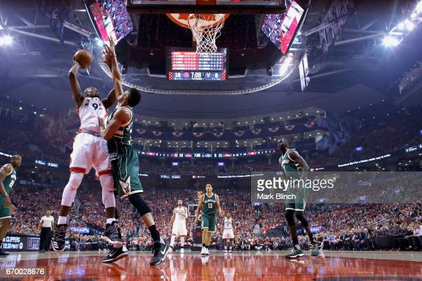 Serge Ibaka of the Toronto Raptors goes to the basket against the Milwaukee Bucks during Game Two of the Eastern Conference Quarterfinals of the 2017...