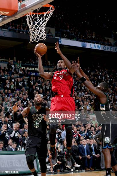Serge Ibaka of the Toronto Raptors goes to the basket against the Milwaukee Bucks during Game Three of the Eastern Conference Quarterfinals of the...