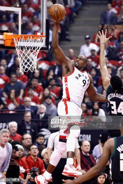 Serge Ibaka of the Toronto Raptors goes to the basket against the Milwaukee Bucks during Game Five of the Eastern Conference Quarterfinals of the...