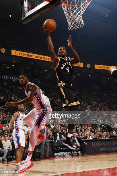 Serge Ibaka of the Toronto Raptors goes up for a lay up during a game against the Philadelphia 76ers on April 2 2017 at the Air Canada Centre in...