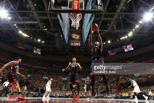 Serge Ibaka of the Toronto Raptors grabs the rebound against the Cleveland Cavaliers in Game One of the Eastern Conference Semifinals of the 2017 NBA...