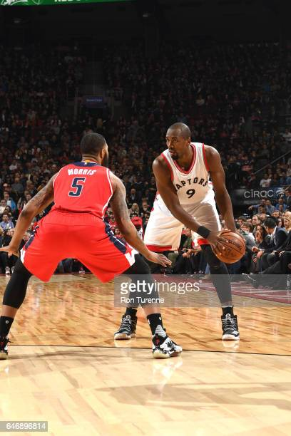 Serge Ibaka of the Toronto Raptors handles the ball against the Washington Wizards during the game on March 1 2017 at the Air Canada Centre in...