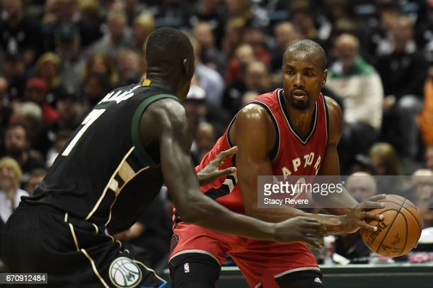 Serge Ibaka of the Toronto Raptors is defended by Thon Maker of the Milwaukee Bucks during the second half of Game Three of the Eastern Conference...