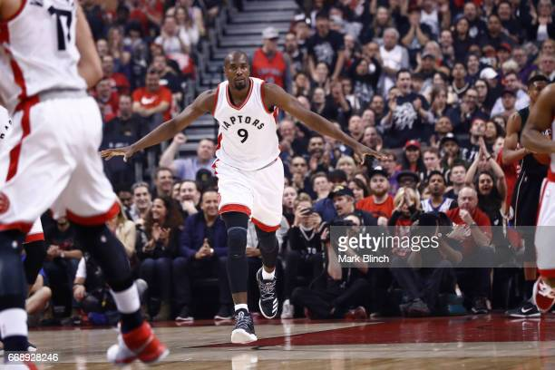 Serge Ibaka of the Toronto Raptors is seen against the Milwaukee Bucks on April 15 2017 during Game One of Round One of the 2017 NBA Playoffs at the...