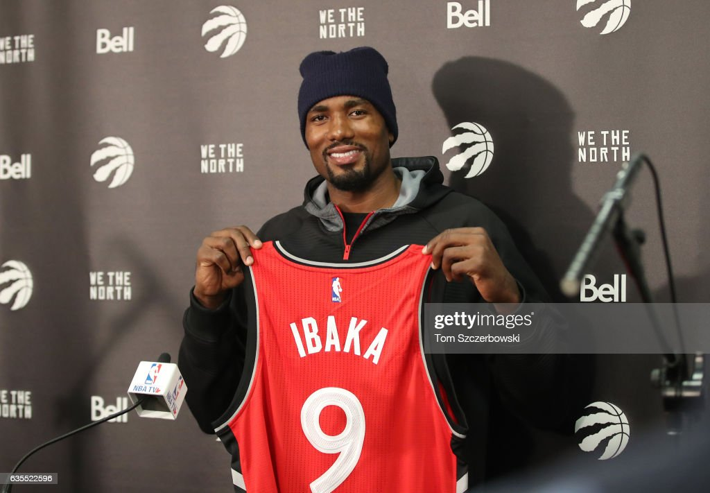 new concept fc7e6 13ec3 ... Serge Ibaka 9 of the Toronto Raptors poses with his jersey after  holding a presser Serge Ibaka - Adidas Crazy Strike ...
