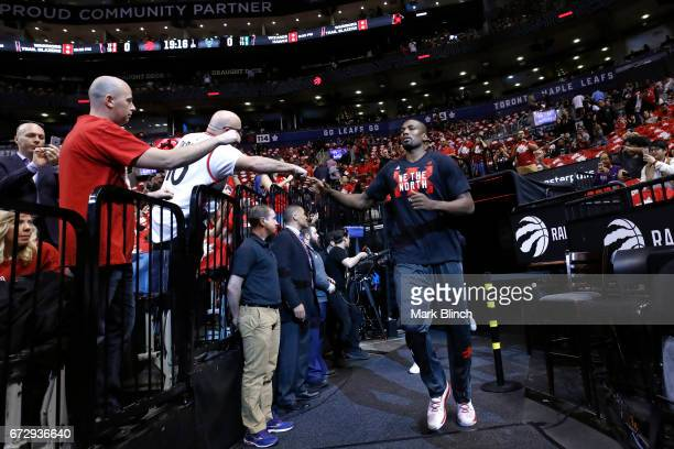 Serge Ibaka of the Toronto Raptors runs out to the court before the game against the Milwaukee Bucks during Game Five of the Eastern Conference...