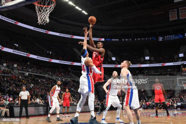Serge Ibaka of the Toronto Raptors shoots the ball against the Detroit Pistonson April 5 2017 at The Palace of Auburn Hills in Auburn Hills Michigan...