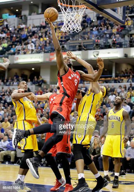 Serge Ibaka of the Toronto Raptors shoots the ball against the Indiana Pacers at Bankers Life Fieldhouse on April 4 2017 in Indianapolis Indiana NOTE...