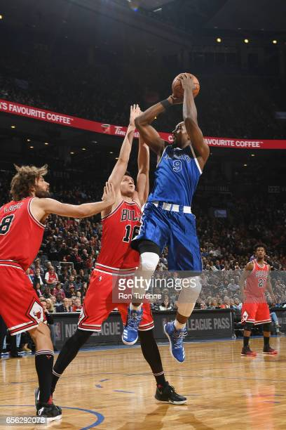 Serge Ibaka of the Toronto Raptors shoots the ball against the Chicago Bulls during the game on March 21 2017 at the Air Canada Centre in Toronto...