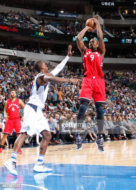 Serge Ibaka of the Toronto Raptors shoots the ball against the Dallas Mavericks on March 25 2017 at the American Airlines Center in Dallas Texas NOTE...