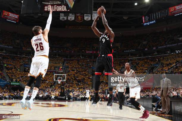 Serge Ibaka of the Toronto Raptors shoots the ball against the Cleveland Cavaliers in Game One of the Eastern Conference Semifinals of the 2017 NBA...
