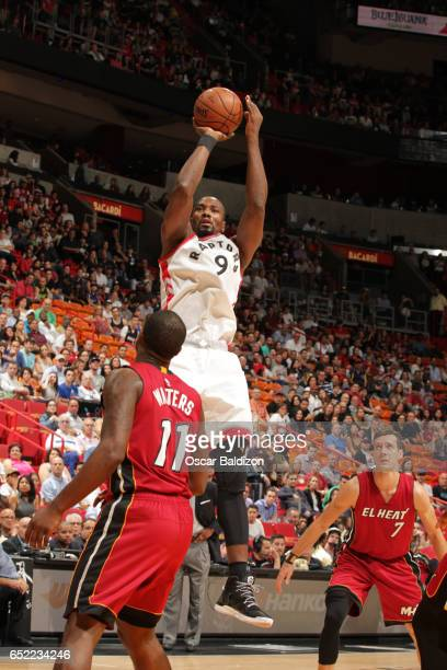 Serge Ibaka of the Toronto Raptors shoots the ball against the Miami Heat on March 11 2017 at AmericanAirlines Arena in Miami Florida NOTE TO USER...