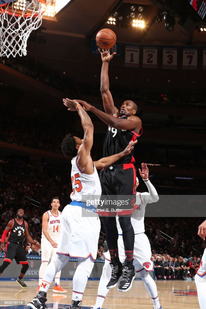 Serge Ibaka #9 of the Toronto Raptors shoots the ball against the New York Knicks on February 27, 2017 at Madison Square Garden in New York City.